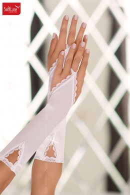 Softline - Flip flop gloves with lace and rhinestone. White