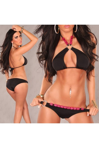 Black swimsuit with rings and pink stones.