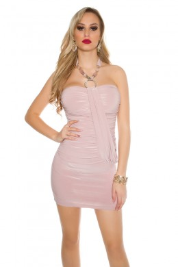 Sexy neck-partydress with pearls and rhinestones. Light pink.