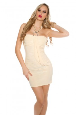 Neck-party dress with pearls and rhinestones. Champagner.