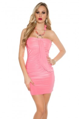 Neck-party dress with pearls and rhinestones. Pink.