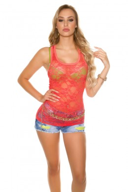 Tank in coral floral lace.