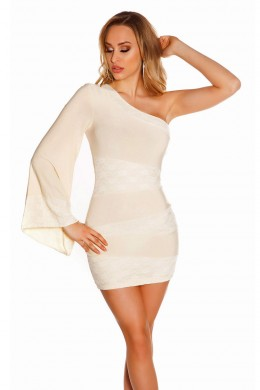 One shoulder mini dress with lace inserts. Cream