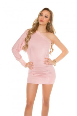 One shoulder mini dress with lace. Light pink.