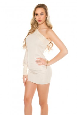 One shoulder mini dress with lace. Beige.