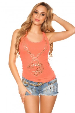 Sexy tank top with print and studs. Coral.