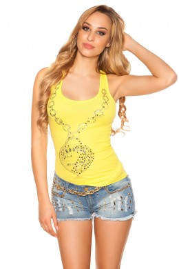 Sexy tank top with print and studs. Yellow.