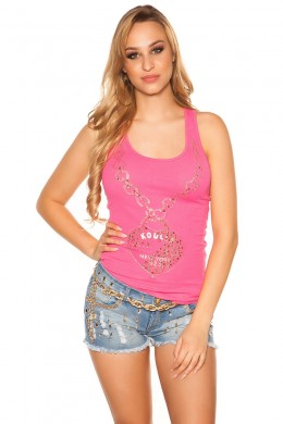 Sexy tank top with print and studs. Pink.