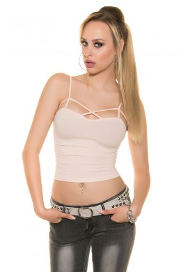 Apricot top with lace-up pattern over the bust.