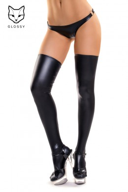 Thick stockings in wet look fabric.
