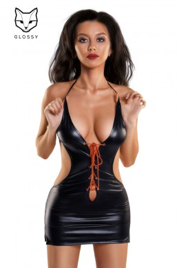 Wetlook mini dress with bare back and plunging neckline.
