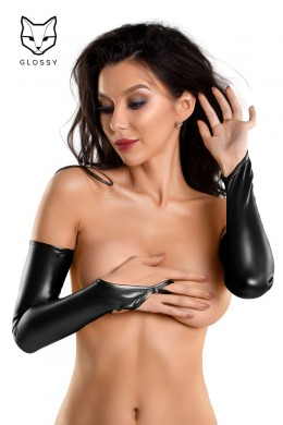 Long thong gloves in wet look fabric.