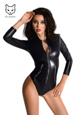 Shiny body with long sleeves with front zip.