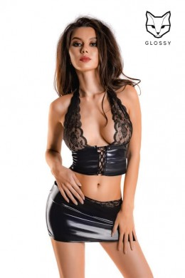 Top and mini skirt set in shiny wet-look fabric and lace.
