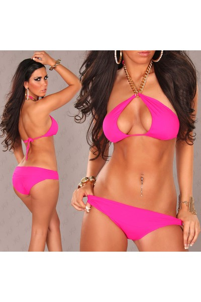 Fuchsia swimsuit with gold chain.