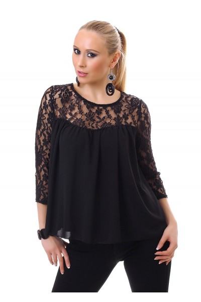 Blouse with lace inserts. Black