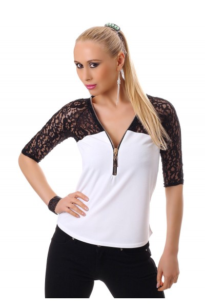 3/4 sleeve shirt with lace. White/black