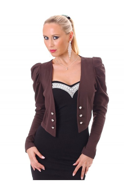 Bolero with puffed sleeves and buttons. Chocolate.