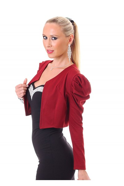 Bolero with puffed sleeves and buttons. Bordeaux.