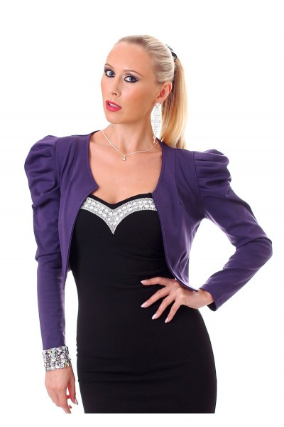 Bolero with puffed sleeves and buttons. Dark violet.