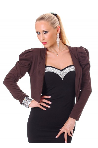 Bolero with puffed sleeves and buttons. Chocolate