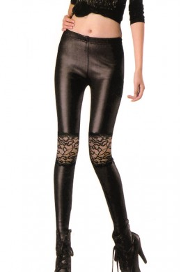Blacks leggings with lace inserts.