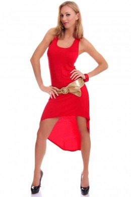 Long dress flared with tail. Red.