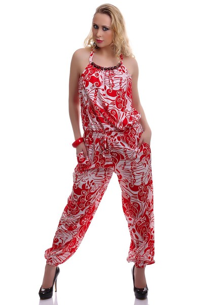 Jumpsuit sleeveless with fancy white-red.