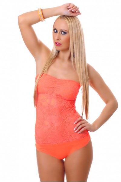 Body with lace. Orange fluo.