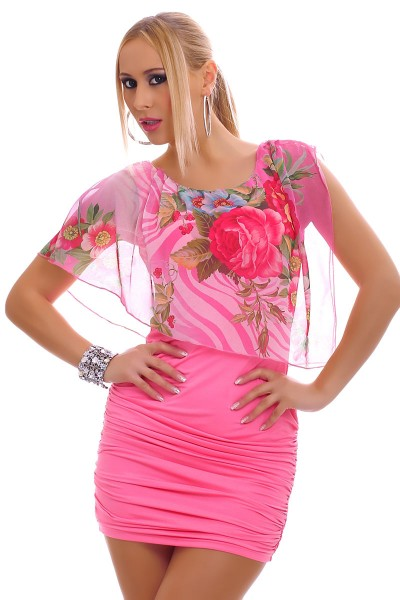 Mini dress with floral pattern. VARIOUS COLORS