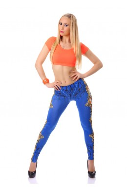 Leggings with floral print. Blue.