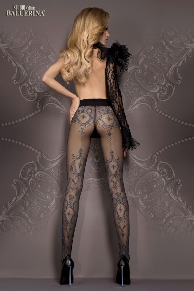 Ballerina: black tights with blue details. Mod. 412