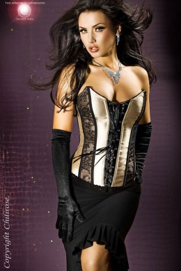 CHILIROSE: satin corset with lace.