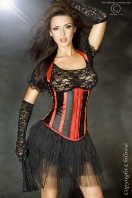 CHILIROSE: corset with vertical stripes black-red.