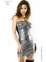 CHILIROSE: Mini dress with silver/black python design.