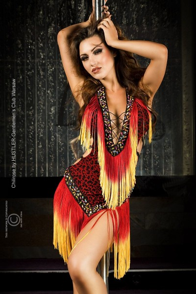 CHILIROSE: leopard mini dress with fringes and beads.