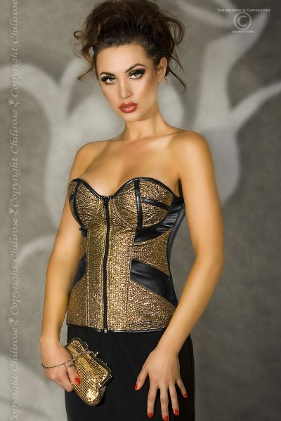 CHILIROSE: faux leather corset with bright gold fabric.