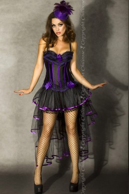CHILIROSE: multi-layered skirt with tail and bow. Black-purple.