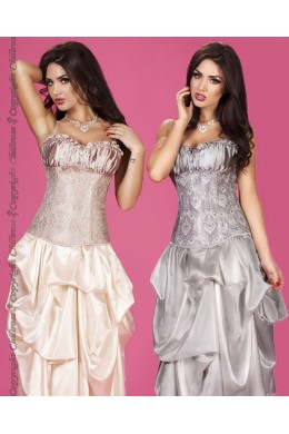 CHILIROSE: brocade corset with satin cups.