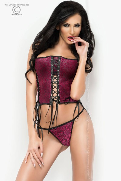 CHILIROSE: velvet corset with lacing. Wine-colored.