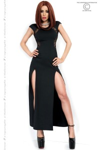 CHILIROSE: long dress with slits and lace inserts.