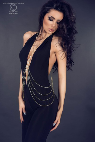 CHILIROSE: belly body chains with pearls. Model 3997