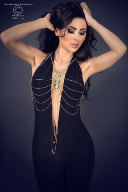 CHILIROSE: belly body chains with stones. Model 3998
