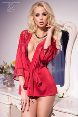 CHILIROSE: embroidered dressing gown with thong. Red.