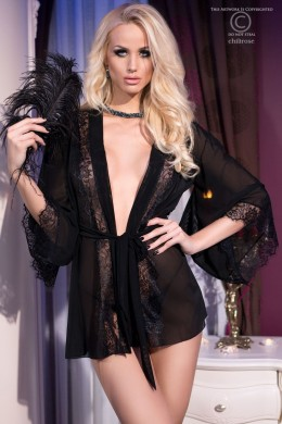 CHILIROSE: Tulle and lace short robe. Black