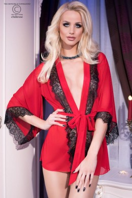 CHILIROSE: Tulle and lace short robe. Red