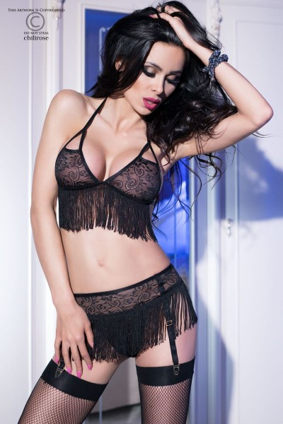 CHILIROSE: Set 3 pcs in lace with fringes.