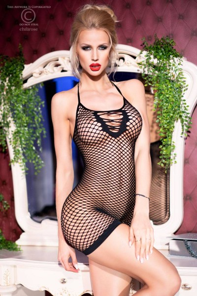 CHILIROSE: mesh chemise with front strings. black