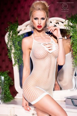 CHILIROSE: mesh chemise with front strings. White