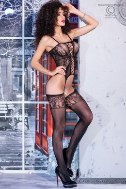 Embroidered bodystocking with lace, garter effect.